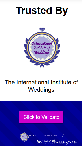 Trusted by the International Institute of Weddings - Click to Validate