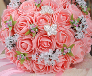 Silk peach wedding bouquet