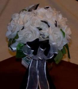 White silk wedding bouquet