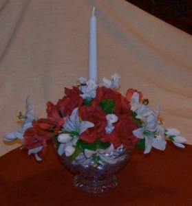 Silk floral candle wedding centerpiece