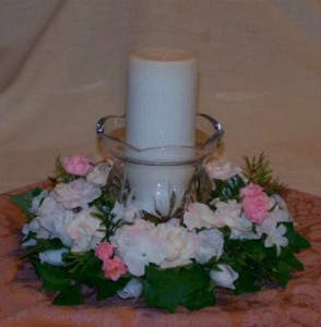 Wedding floral candle centerpiece